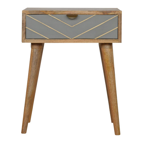 Hand Carved Oak Finish Dove Grey Bedside Table