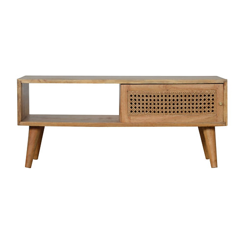 Handcrafted TV Stand with Rattan Panel Single Sliding Door