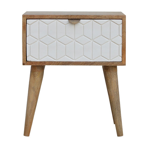 Hand Crafted Sleek White Carved Solid Mango Wood Bedside