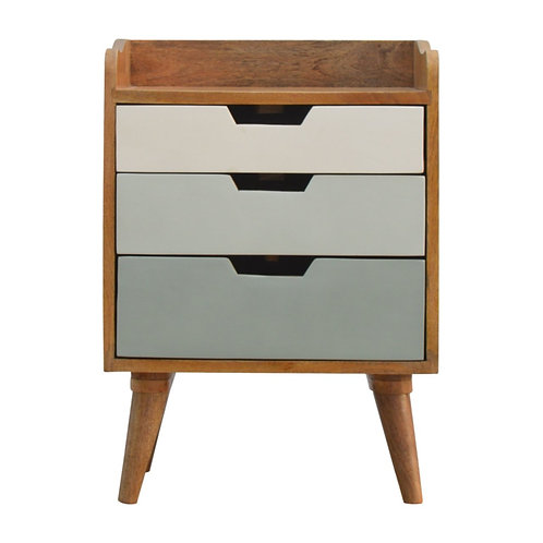 Solid Wood Gallery Back Bedside Table with Green and White Gradient Drawers
