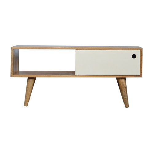 Handcrafted TV Stand with White Painted Single Sliding Door