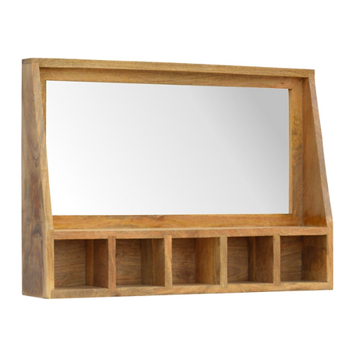 Artisan Made Farmhouse Rustic Mirror with Candle Shelf   Entryway Storage Unit