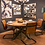 Thumbnail: Industrial Design 6 Seater Round Wooden Dining Table and Leather Chairs