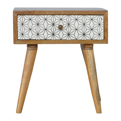 Handcrafted Geometric Screen Printed Single Drawer Bedside