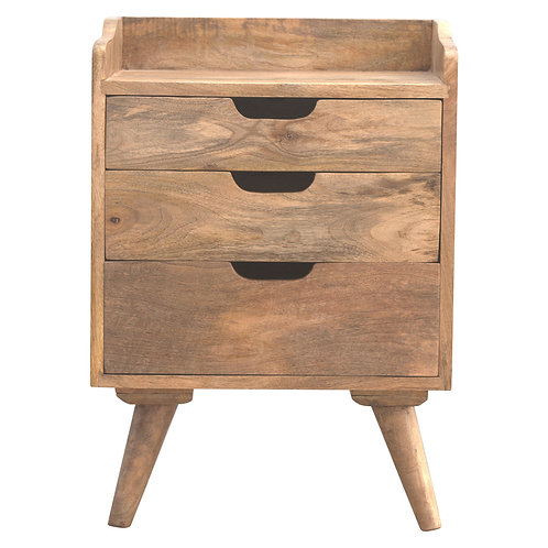Solid Wood Gallery Back Bedside Table with 3 Drawers