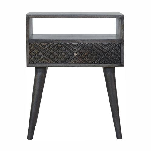Hand Carved Ash Black Geometric Single Drawer Bedside