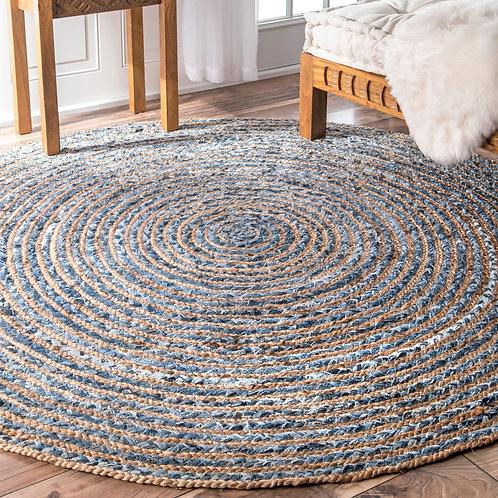Round Jute and Recycle Denim Rug - 150 cm