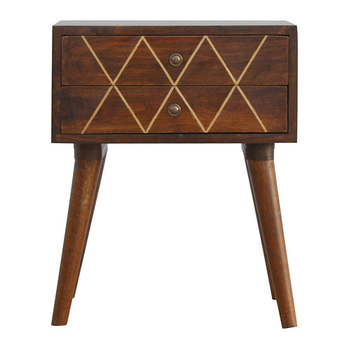 Hand Crafted 2 Drawer Bedside Table with Brass Inlay