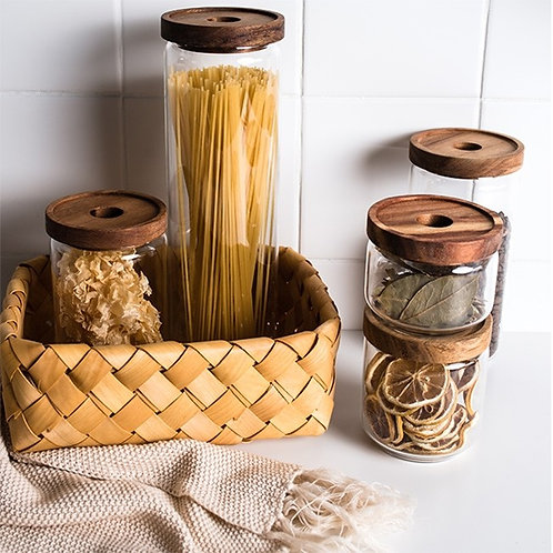 Cottage Bamboo Glass Jar - 10cm