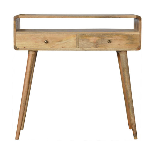 Hand Crafted Curved Oak Console Table with Two Drawers and Open Slot