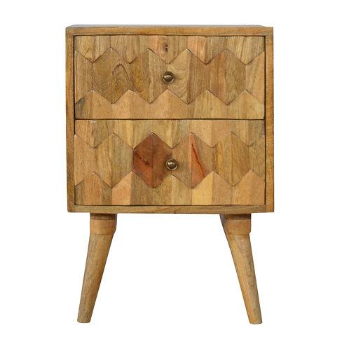 Handcrafted Pineapple Carved 2 Drawer Bedside Modern Solid Wood Bedside Table