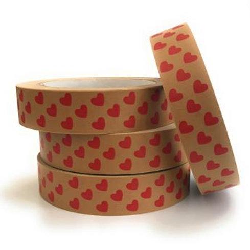 Red Love Hearts Print Self Adhesive Kraft Paper Tape