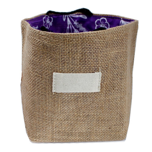 Natural Jute Cotton Gift Bag - Lavender Lining - Large