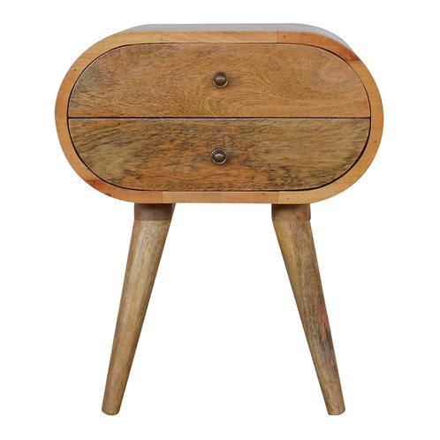Handcrafted Circular Nordic Style 2 Drawer Solid Mango Wood Bedside