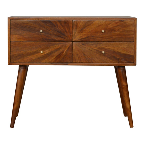 Solid Wood Sunburst Design Console Table with Drawers