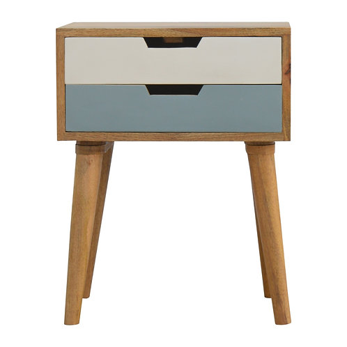 Hand Crafted Blue and White Cut out Bedside Table with Two Drawers