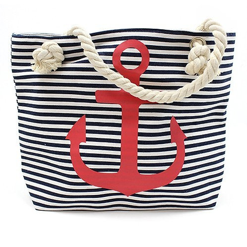 Nautical Rope Handle Bag - Red Anchor
