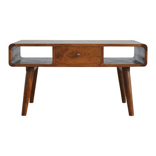 Handcrafted Mid Century Chestnut Coffee Table