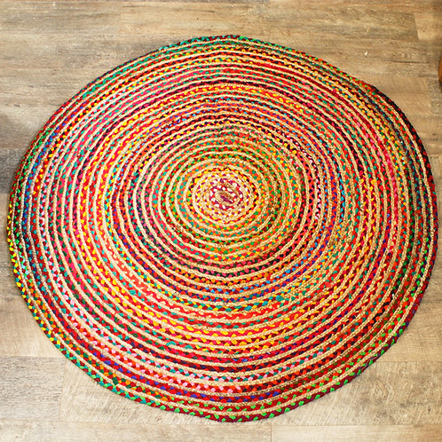 Round Jute and Recycled Cotton Rug - 150 cm