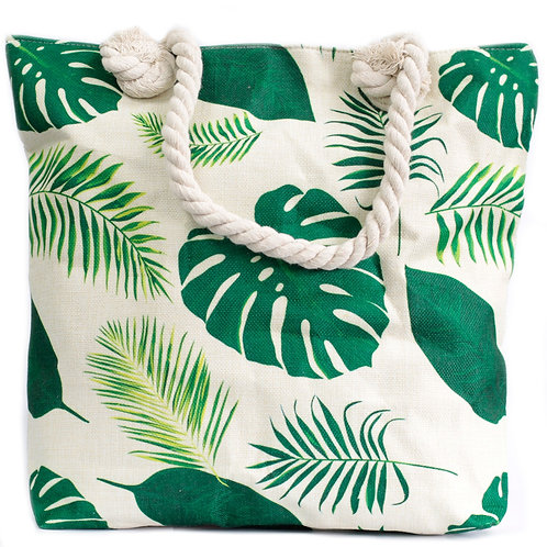 Rope Handle Bag - Tropical Greens