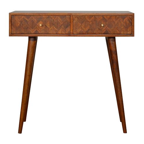 Contemporary Chestnut or Oak Finish Console Table