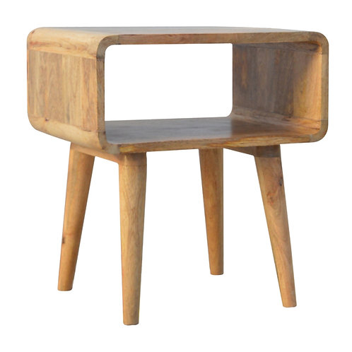 Solid Wood Curved Bedside Table with Tapered Legs
