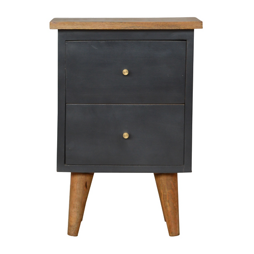 Hand Painted Bedside Table in Charcoal Black with 2 Drawers Oak Finish Top