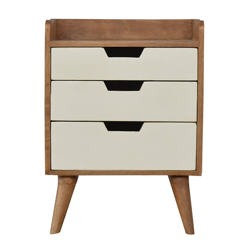 Solid Wood Gallery Back Bedside Table with 3 White Painted Drawers