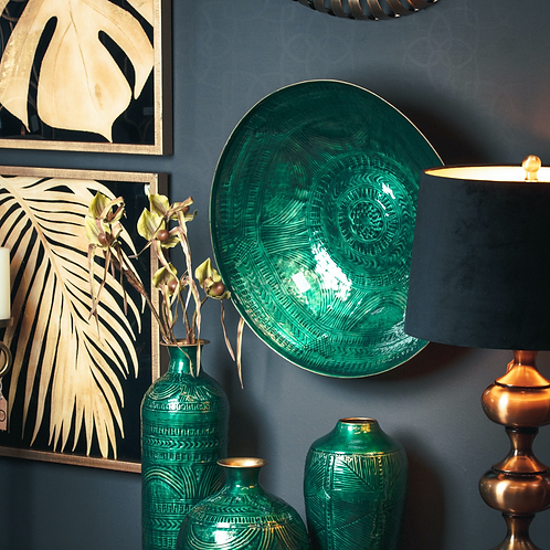 Brass Embossed Teal Ceramic Large Decorative Bowl | Decorative Metal Fruit Bowl