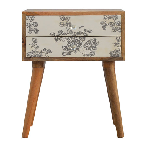 Handcrafted Floral Screen Printed 2 Drawer Bedside Grey and White