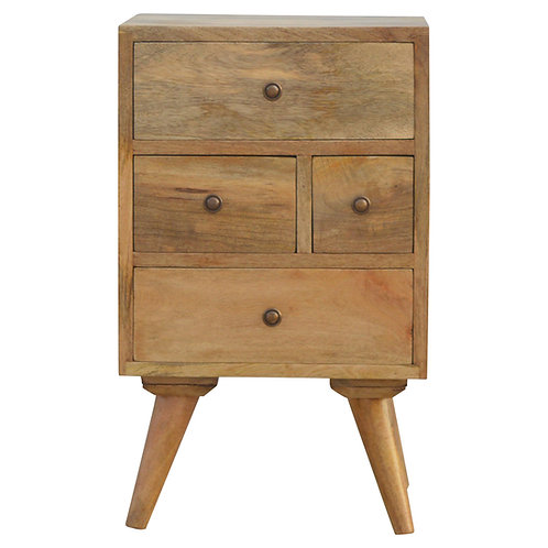 Handcrafted Nordic Style 4 Drawer Multi Bedside Solid Mango Wood