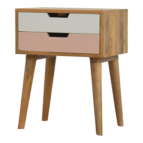 Hand Crafted Blush Pink and White Cut out Bedside Table with Two Drawers