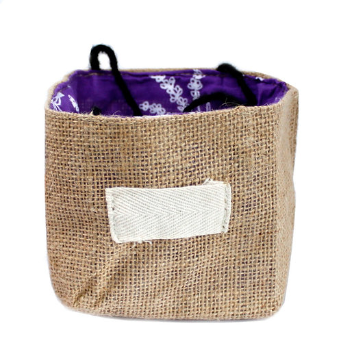 Natural Jute Cotton Gift Bag - Lavender Lining - Medium
