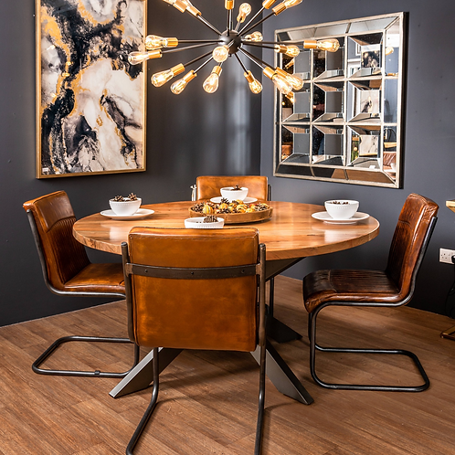 Industrial Design 6 Seater Round Wooden Dining Table and Leather Chairs
