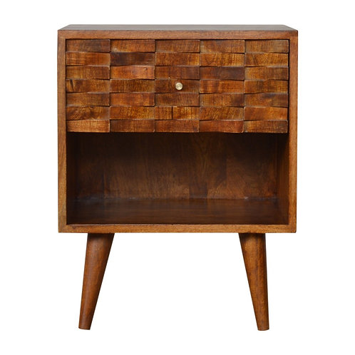 Handcrafted Solid Wood Hand Carved Chestnut Bedside Table with Open Slot
