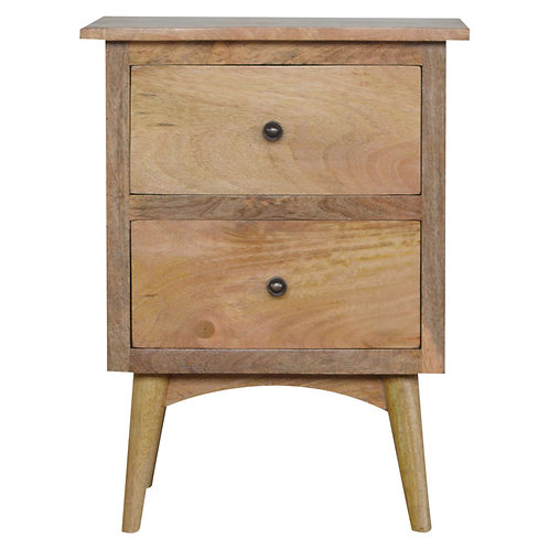 Nordic Style Bedside Table with 2 Drawers and Natural Oak Finish