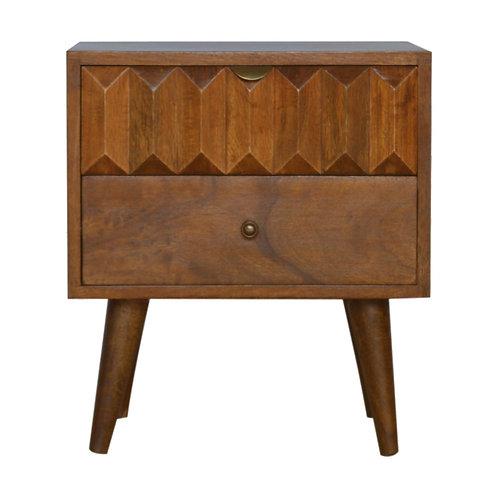 Handcrafted Chestnut Prism Carved 2 Drawer Bedside
