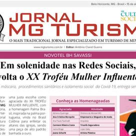 Jornal MG TURISMO. Saiu do forno mais uma edição. À frente Antônio Claret Guerra e Suely Guerra