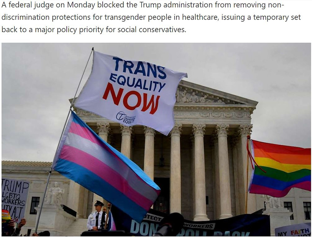 Transgender Health Protections Safe. . .For NOW!