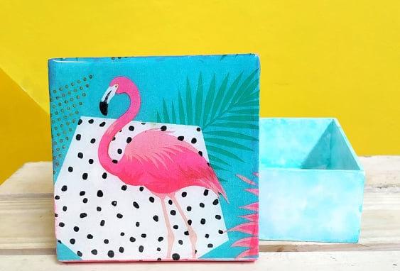 Caja madera flamingo