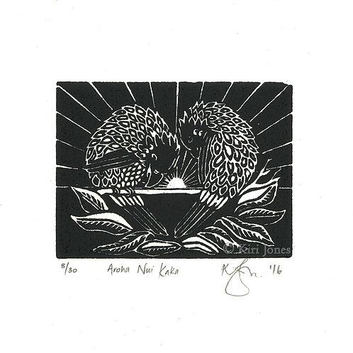Aroha Nui Kaka - Limited Edition Woodblock Print