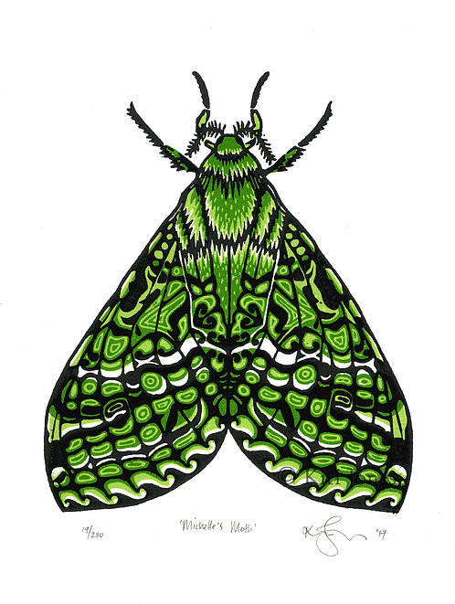 Michelle's Moth - Limited Edition Woodblock Print