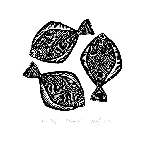 Flounder - Limited Edition Woodblock Print