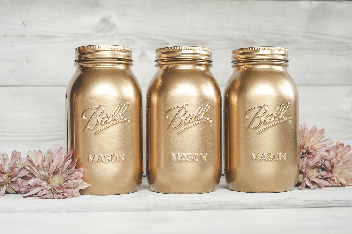 Mason Jars - Gold