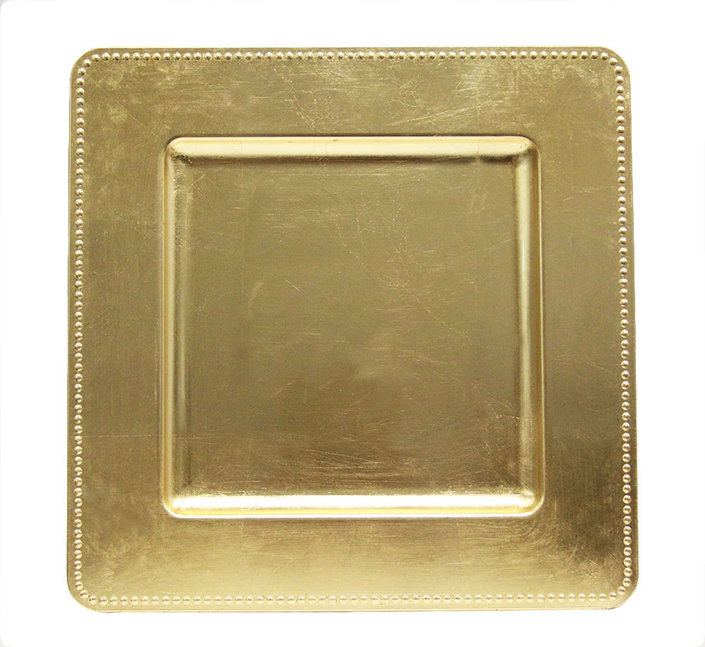Gold Sqaure Beaded Charger Plate