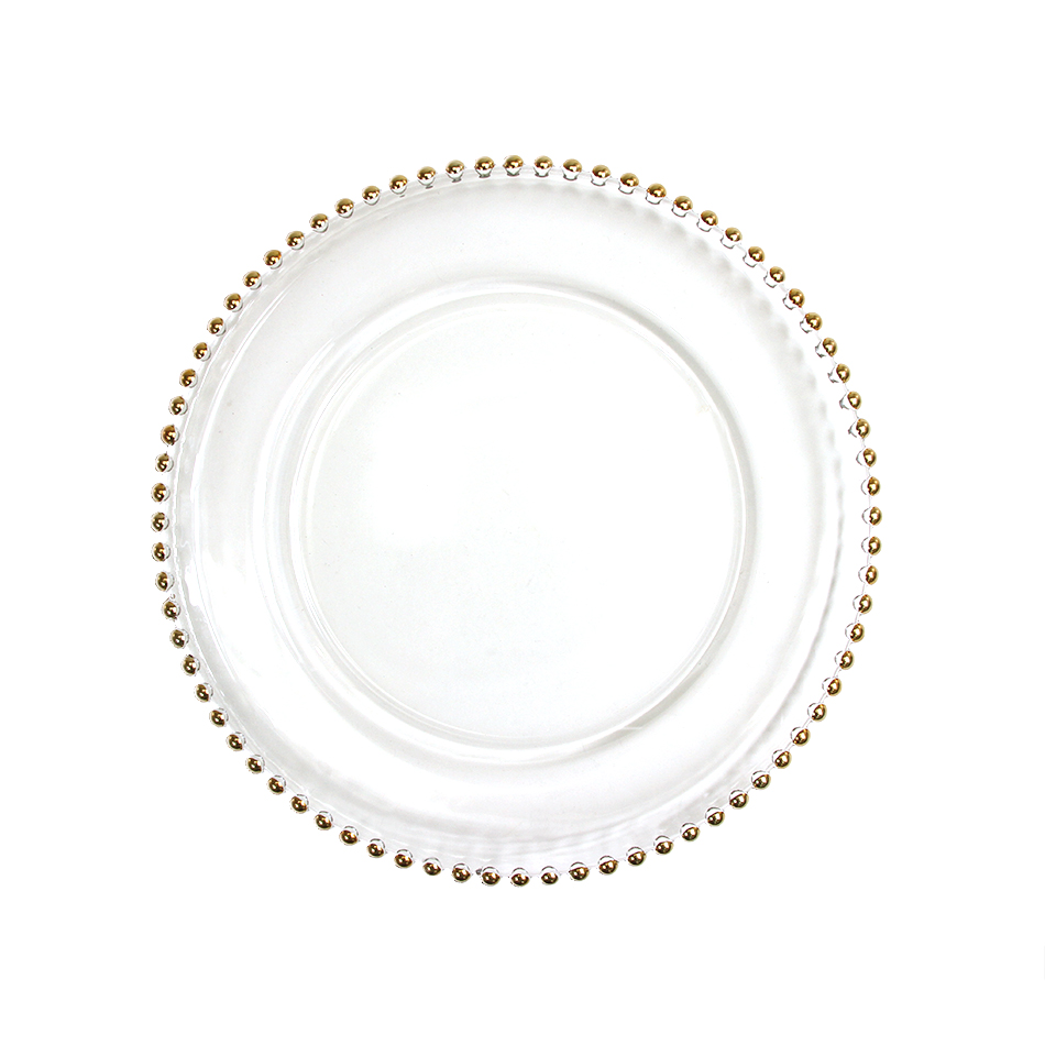 Gold Glass Beaded Charger Plate