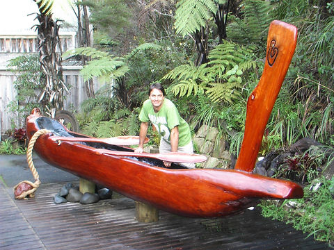 Maori Waka Commission made from Salvaged Coromandel Kauri wood, made by Tony Howse, Kauri Cliff Art Gallery, Whangamata, New Zealand