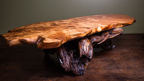 Design Coffee Table made from Salvaged Coromandel Kauri wood, made by Tony Howse, Kauri Cliff Art Gallery, Whangamata, New Zealand