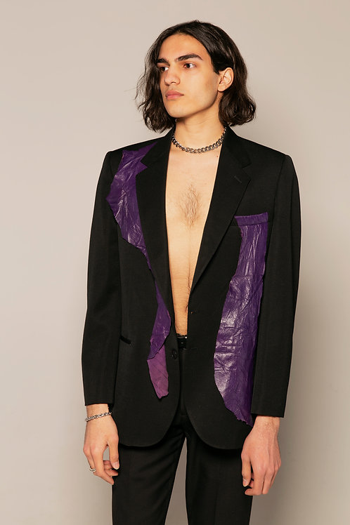 Purple Leather Blazer