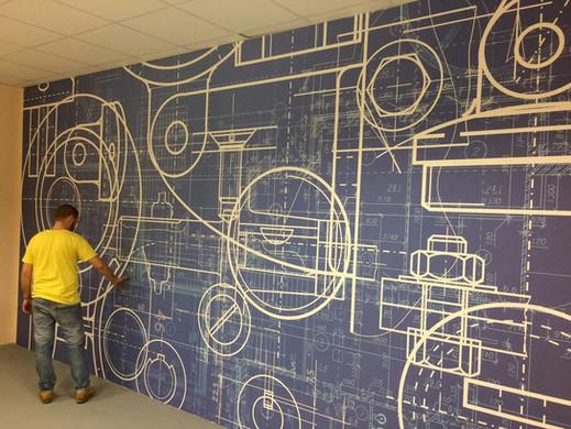 Telpas sienas noformējums ar drukātu fototapeti